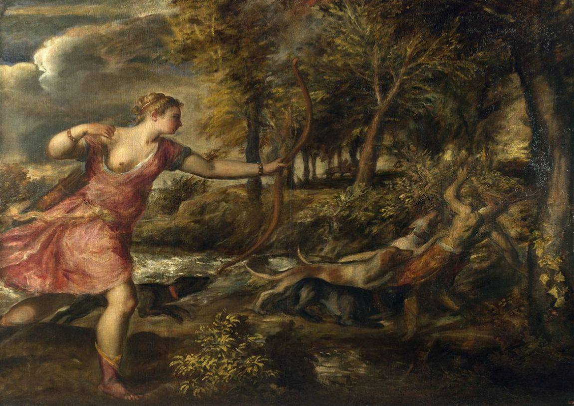 Titian (Tiziano Vecellio): The Death of Actaeon. Mythology Fine Art Print/Poster. Sizes: A4/A3/A2/A1 (001956)